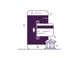 A stylied image icon of a mobile phone taking payments