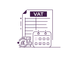 A stylised image icon of VAT returns, a calendar and pound coins