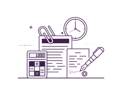 An stylised image icon of calculator, pen, clipboard and clock
