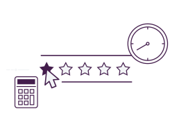 A stylised image icon showing reviews selection, a calculator and clock